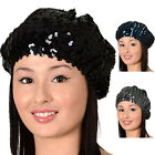 Ladies Fashionable Hat With Light Catching Sequins Stretch Ruched Beret Style