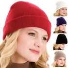 Ladies Stylish And Versatile Fine Knit Beanie Hat With Turned Up Brim