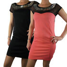 Ladies Mini Dress Top See Through Thru Net Womens Embellished Party Sexy Short