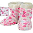 Girls' Bootee Style Slippers Plush White Pink Heart Or Spot Design Furry Trim