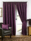 "Aubergine Luxury Swirls Woven Ready Made Fully Lined 3"" Tape Curtains"