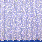 GLORIA FLORAL NET CURTAIN IN WHITE - SOLD BY THE METRE - MULTIPLE SIZES