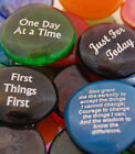 Colored Glass Wisdom Imprinted Stones - Sayings R thru T