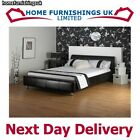 "STUNNING Coal 3ft 6"" Large Single Faux Leather Bed FREE NEXT DAY DELIVERY"