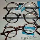 2pair Easy wear Lennon look Round frame BIFOCAL CLEAR READING GLASSES reader