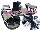 Squeaky Shoes Zebra Add A Bow Sandal Black Bows and Zebra Korker Set for Hair
