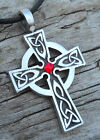 Silver PEWTER Wales CELTIC CROSS Irish RUBY RED Crystal JULY Birthstone Pendant
