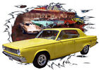 1965 Yellow Dodge Dart Custom Hot Rod Diner T-Shirt 65, Muscle Car Tee's $ USD