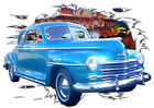 1947 Blue Plymouth Coupe b Custom Hot Rod Diner T-Shirt 47, Muscle Car Tee's