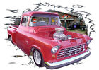 1956 Red Chevy Blown Pickup Truck Hot Rod Garage T-Shirt 56,55, Muscle Car Tee's