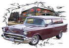 1957 Burgundy Chevy Sedan Delivery Hot Rod Garage T-Shirt 57, Muscle Car Tee's