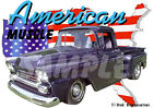 1959 Purple Chevy Pickup Truck Custom Hot Rod USA T-Shirt 59, Muscle Car Tee's