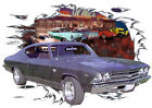 1969 Gray Chevy Chevelle SS a Custom Hot Rod Diner T-Shirt 69, Muscle Car Tee's