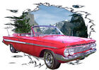1961 Red Chevy Impala Convertible Hot Rod Mountain T-Shirt 61, Muscle Car Tee's