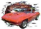 1964 Red Chevy Corvette a Custom Hot Rod Diner T-Shirt 64, Muscle Car Tee's