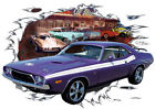 1974 Plum Dodge Challenger RT Custom Hot Rod Diner T-Shirt 74, Muscle Car Tee's
