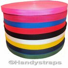 2 , 5 , 10 , 25 , 50 , 100 metre Rolls of colour Webbing 20mm ,25mm ,40mm ,50mm