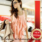 Pink / White Cocktail Wedding Party Slouchy Waterfall Ruffle Dress L-XL-1X-2X