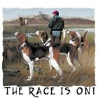 "American Dog "" THE RACE IS ON...WALKER HOUND DEER HUNTIN T SHIRT 50/50 """