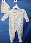 LITTLE ME 100% COTTON Ivory Footie w/All Over PUPPY Print & Matching Hat BOY NWT
