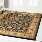 TRADITIONAL BLACK BEIGE GREEN FLORAL PERSIAN AREA RUG ORIENTAL BORDERED CARPET
