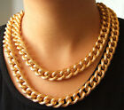 """Newest Charm Dot Shiny Gold Plated Chunky Aluminium Curb Chain Necklace 18"""" 38"""""""