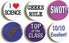 6 x SCHOOL DISCO FANCY DRESS PACK BUTTON BADGES (1inch/25mm) GEEK CHIC 1990s