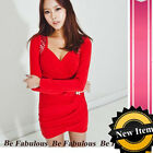 XL-1X Red Super Sexy Clubbing Party Hot Wrap Ruched Tulip Mini Dress