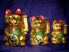 FSH099 Feng Shui Maniki Ceramic Neko Golden Lucky Money Cats