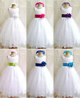 FL WHITE / WHITE  PAGEANT WEDDING RECITAL BRIDAL  FORMAL PARTY FLOWER GIRL DRESS