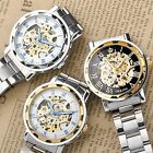 3 Style Selectable Men's Stainless Steel Hollow Mechanical Automatic Wrist Watch