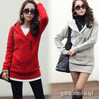 Women Winter Long Sleeve Casual Woolen Sweater Dress Jacket Coats Outerwear Top
