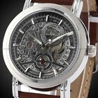 New Mens Skeleton Automatic Mechanical Date Coffee Leather Wrist Watch Gift
