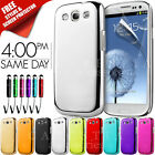 NEW CHROME HARD CASE COVER FITS SAMSUNG GALAXY S3 I9300 FREE SCREEN PROTECTOR