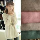 Korea Womens Batwing Sleeves Round Collar Knit Pullover Loose Sweaters BK024