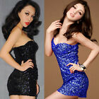 SEXY BODYCON SLIM BLING SEQUINS SPAGHETTI STRAP BACKLESS CLUBWEAR PARTY DRESS