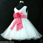 HP668 Baby Girl Pinks White Wedding Flower Girls Dress SZ 1-2-3-4-5-6-7-8-10-12Y