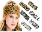 Ladies Girls Faux Fur Leopard Zebra Headband Earwarmers Ski Band Ear Muffs