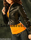 Ladies Soft leather high waisted short jacket top belted satin lined trendy shop