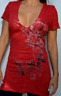 Sinful by Affliction - HEART ATTACK V-Neck Tunic T-Shirt w/ Rhinestones - S1301