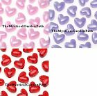 130 Pearl Opaque Lilac, Pink Or Clear Red Acrylic HEART Pony Beads 10x12mm *
