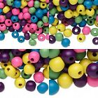 90 Gram Bag of Mixed Assorted Bright Colored Wooden Round Wood Beads Small-Big