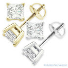 5.50ct Square Princess Cut Moissanite 14k Gold Stud Earrings Charles and Colvard