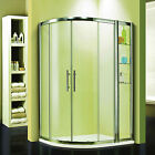 Luxury New Walk In Quadrant Shower Enclosure Cubicle Glass Door & Stone Tray