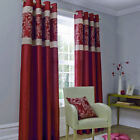 Catherine Lansfield Ivory Red Beige Gold Jacquard Fully Lined Eyelet Curtains