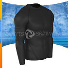 Mens Compression Round Long Sleeve Black/Black Stripe R01B/B S ~ 2XL