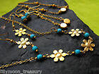 Gold plated brass flower DAISY turquoise necklace choker earrings wicca gypsy