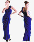 One Shoulder Formal Evening Bridesmaids Dress Cobalt Blue Chiffon Size 10 14 16