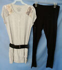 FADED GLORY S/S GRAY HEATHER Knit Top w/Sequins & Leggings Set GIRLSIZES NWT