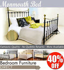 MONMOUTH black metal double bed, 4ft6 metal bed frame,Wood slats FANTASTIC VALUE
